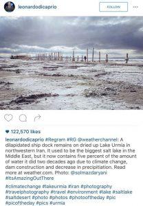 پست لئوناردو دیکاپریو درمورد دریاچه ارومیه ایران + عکس
