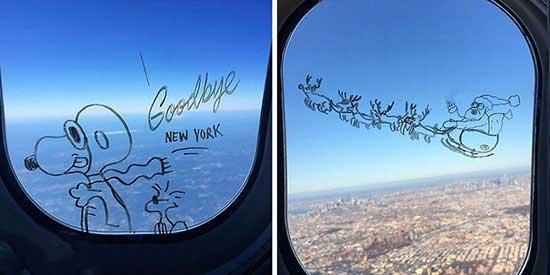 طراحی های جالب روی شیشه هواپیما