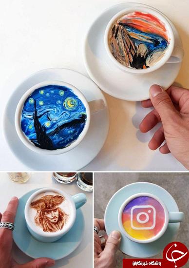 طراحی لوگو روی قهوه