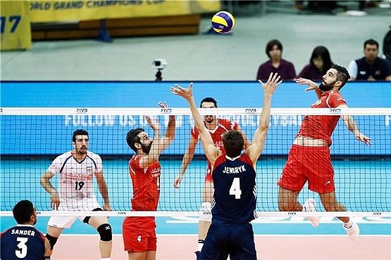 پیروزی تیم والیبال ایران برابر آمریکا
