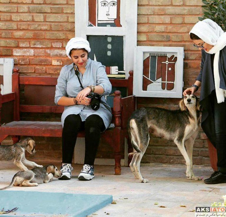 آناهیتا همتی در کنار سگ تازی ایرانی