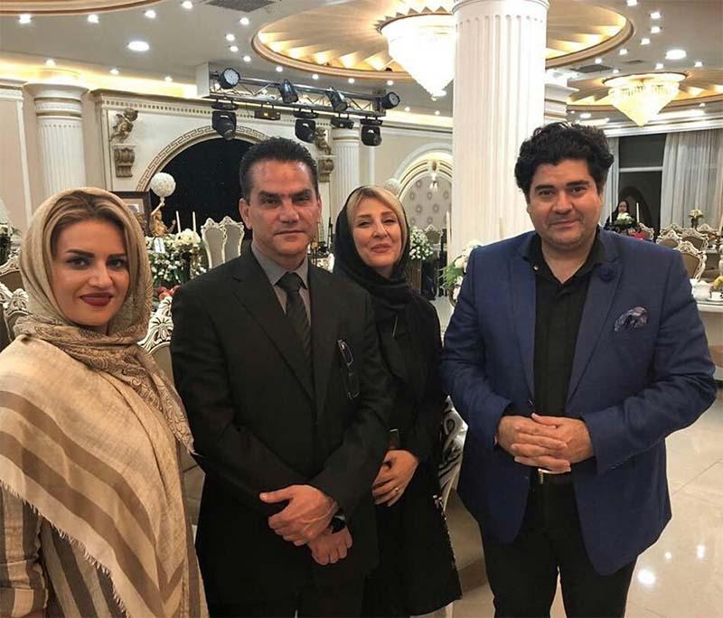 سالار عقیلی و همسرش در کنار خانواده نادر گلچین