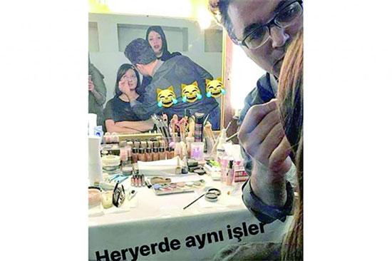 بازیگر ترکیه ای در اتاق گریم