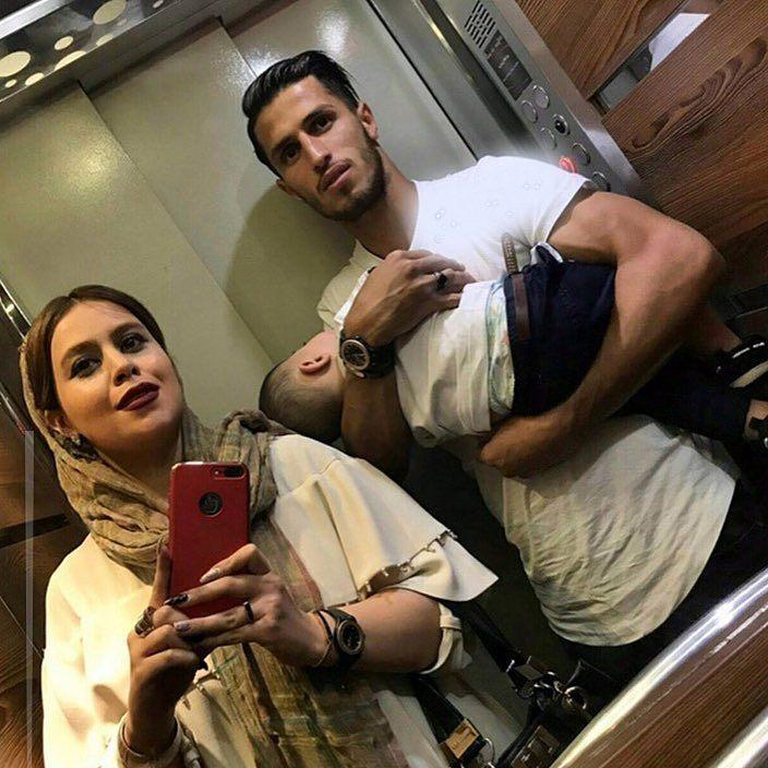 عکس خانوادگی فوتبالیست پرسپولیسی در آسانسور