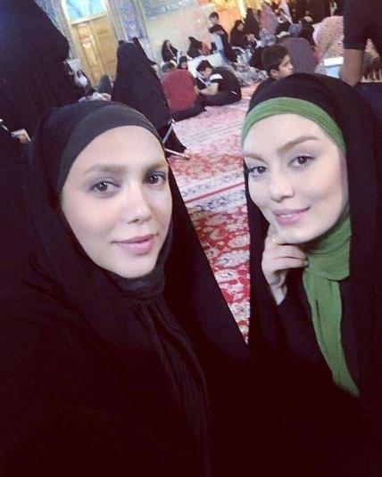 چهره با حجاب سحر قریشی در مکان مذهبی