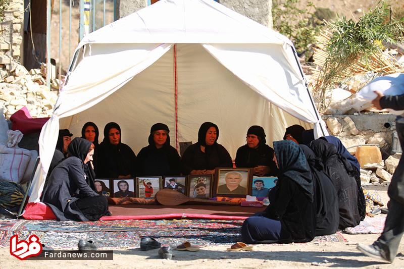 مردم کرمانشاه در حال سوگواری
