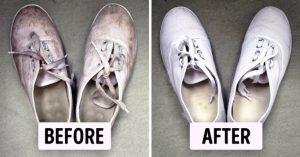 ترفندی ساده برای شست و شوی کفش های سفید