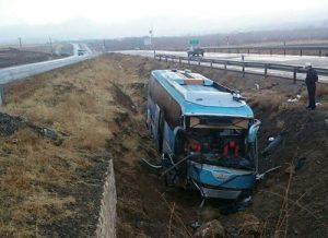 تصادف اتوبوس حامل اساتید,تصادف اتوبوس حامل اساتید در همدان,واژگونی اتوبوس اساتید کشور در جاده ملایر