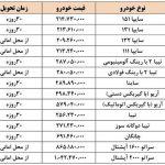 جدول قیمت جدید محصولات سایپا در سال 97