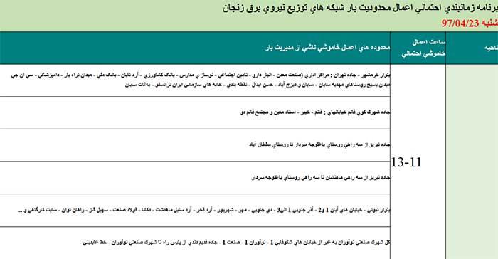 برنامه قطعی برق زنجان,زمانبندی قطعی برق زنجان,جدول قطعی برق زنجان