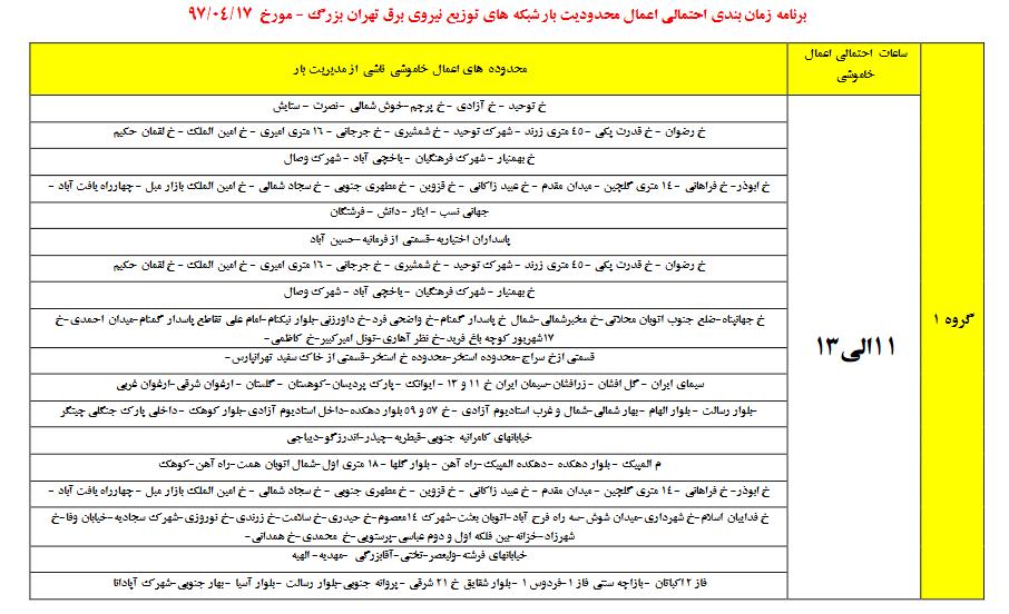 برنامه های خاموشی در تهران,جدول زمانبندی قطع برق در تهران,زمان احتمالی اعمال خاموشی در تهران