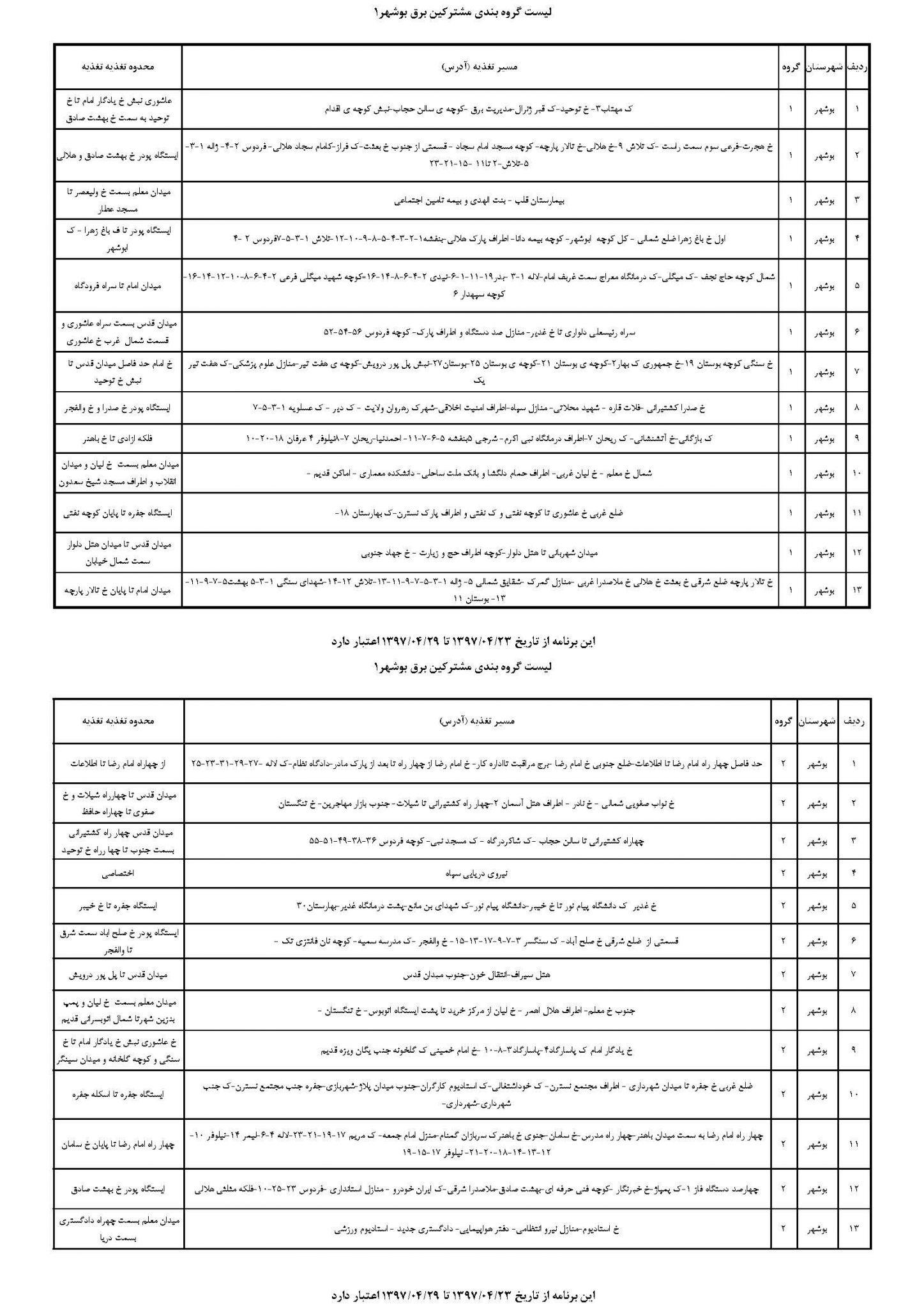 برنامه قطعی برق بوشهر سه شنبه 26 تیر 97,جدول قطعی برق بوشهر سه شنبه 26 تیر 97,زمانبندی قطع برق بوشهر 26/4/97