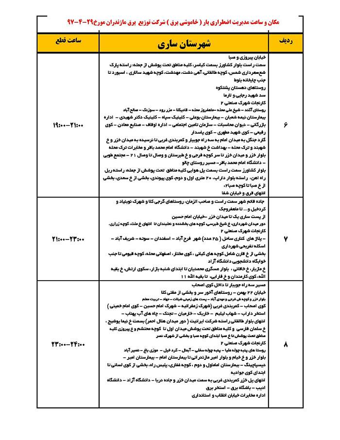 برنامه قطعی برق ساری جمعه 29 تیر 97,جدول قطعی برق ساری جمعه 29 تیر 97,قطع برق ساری 29/4/97