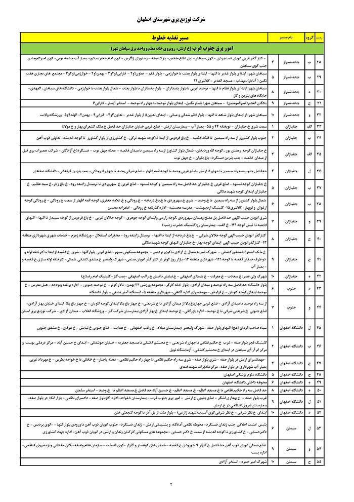 برنامه قطعی برق اصفهان یکشنبه 31 تیر 97,جدول قطعی برق اصفهان یکشنبه 31 تیر 97,قطعی برق اصفهان 31/4/97
