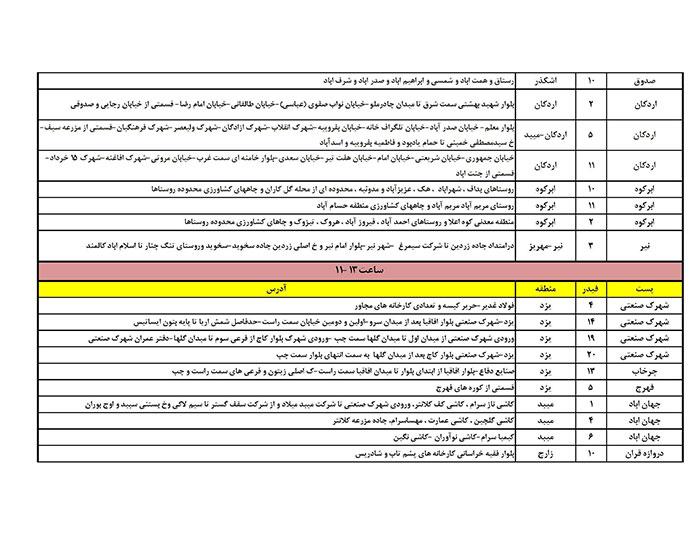 برنامه قطعی برق یزد یکشنبه 31 تیر 97,جدول قطعی برق یزد یکشنبه 31 تیر 97,قطعی برق یزد 31/4/97