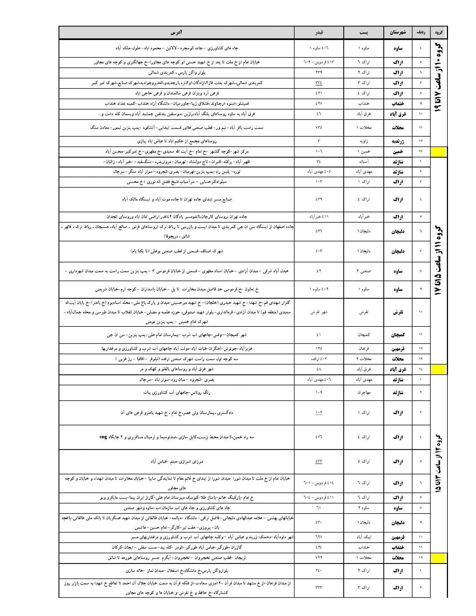 برنامه قطعی برق مرکزی سه شنبه 2 مرداد 97,جدول قطعی برق مرکزی سه شنبه 2 مرداد 97,قطعی برق مرکزی 2 مرداد 97